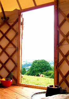 Yurt Entrance and View Over Valley